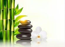 Badekurorthintergrund mit Bambus und Steinen Lizenzfreie Stockbilder