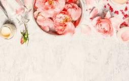 Badekurorthintergrund mit Rosen, Schüssel mit Wasser und Blumenblatt und Creme, Draufsicht Stockfotos