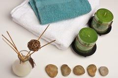 Badekurortkerzen, -duft und -tücher Lizenzfreies Stockfoto