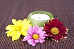 Badekurortmotiv mit Blumen und Kerze Stockfoto