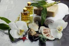 Badekurortorchideen-Grüntuch Lizenzfreies Stockfoto