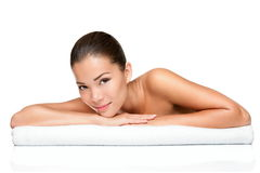 Badekurortschönheitshaut-Behandlungfrau Stockfoto