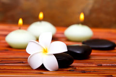 Badekurortsteine, Kerzen und Frangipaniblume stockbild