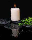 Badekurortstillleben des grünen Blattfarns mit Tropfen und Kerze Stockfoto