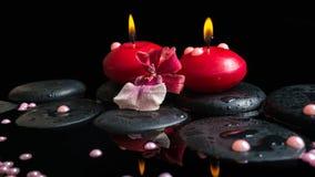 Badekurortstillleben von roten Kerzen, Zensteine mit Tropfen, Orchidee Stockbilder