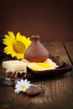 Badekurortthema mit Sonnenblume Lizenzfreies Stockfoto