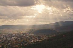Baden bei Wien. Dramatic sky over the town of Baden bei Wien and the Wienerwald hills Stock Images