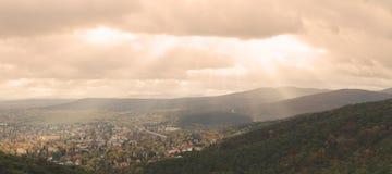 Baden bei Wien. Dramatic sky over the town of Baden bei Wien and the Wienerwald hills Stock Photo
