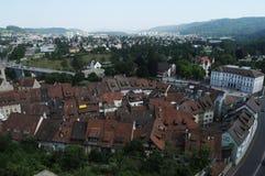Baden City: De mening van historische Chateau bovenop de stad aan de oude stad stock foto