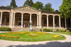 Baden-Baden, Germany. The Trinkhalle Pump House, a building in the Kurhaus spa complex, with a 90-metre arcade colonnade lined with frescos and benches royalty free stock photos