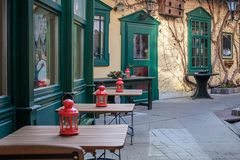 A cozy cafe on one of the central streets of the imperial spa town of Baden near Vienna after Christmas. Austria royalty free stock images