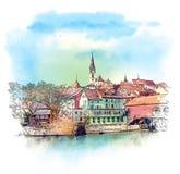 Baden, Suiza Bosquejo de la acuarela stock de ilustración