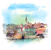 Baden, Switzerland. Watercolor sketch stock illustration