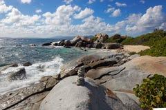 Baden Virgin Gorda, brittisk jungfrulig ö (BVI) som är karibisk Arkivfoton