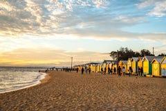 Baden von Kästen bei Brighton Beach, Melbourne Lizenzfreie Stockfotografie