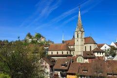 Badenstad in het Zwitserse kanton van Aargau Stock Afbeelding