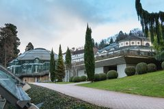 Cassiopeia thermal baths architecture detail seen from the park. Badenweiler, Germany - December 24, 2017: Cassiopeia thermal baths architecture detail seen from royalty free stock photography