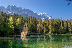 The Badersee and the Zugspitze in Bavaria Royalty Free Stock Photos