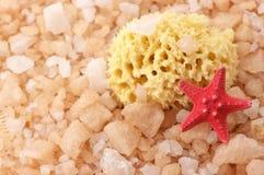Badesalz, Schwamm und Starfish Lizenzfreie Stockfotografie