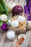 Badesalz und BADEKURORT-Produkte stockfoto
