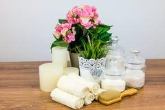 Badetücher und gelbe Gummientchen Felder der persönlichen Hygiene Stockbilder