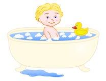 badet badar toten Arkivfoton