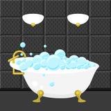 Badet badar vektorn för sanitär teknik i plan stil Royaltyfri Bild