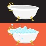 Badet badar vektorn för sanitär teknik i plan stil Royaltyfri Fotografi