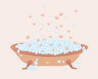 badet bubbles fulla hjärtor Royaltyfri Fotografi