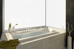 Badewanne mit Ansichten stockfoto