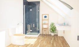 Badezimmer auf Dachboden stockbild