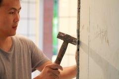 Badezimmer deckt Erneuerung mit Ziegeln stockbilder