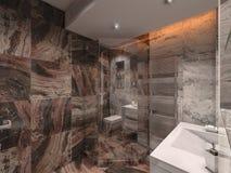 Badezimmer der Illustration 3d im grauen und braunen Stein mit weißem Schläger Lizenzfreie Stockbilder