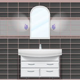 Badezimmer Eine Wand mit einem Spiegel und einer Wanne stockbild