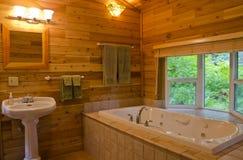 Badezimmer in einer hölzernen Kabine stockfotos