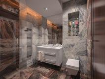 Badezimmer im grauen und braunen Stein mit weißem Badezimmer Lizenzfreie Stockbilder