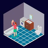 Badezimmer ist mit einer Frau und einem Kind isometrisch Lizenzfreie Abbildung