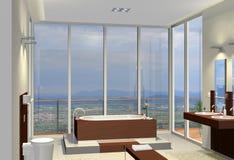 Badezimmer mit fantastischer Ansicht Lizenzfreie Stockfotos