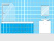 Badezimmer mit Möbeln Flache Illustration Stockfotos