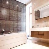 Badezimmer mit Spiegel und Wanne Stockbilder