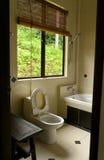 Badezimmer mit tropischer Dschungelansicht Stockfotografie