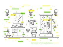 Badezimmer mit Wanne, Schüssel, Duschvektorlinie Kunstillustration Stockfoto