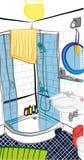 Badezimmer-Szenen-freihändige Illustration Lizenzfreie Stockbilder