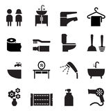 Badezimmer, Toilette, Toilettenikone gesetzter Vektor Lizenzfreies Stockfoto