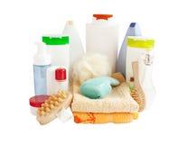 Badezimmer- und Körperpflegeprodukte Stockfotos