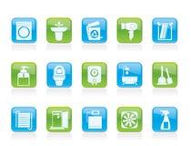 Badezimmer und Toilettennachrichten und -ikonen Stockfotografie