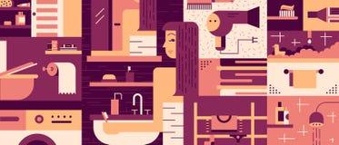 Badezimmerfrauenhintergrund flach Lizenzfreie Stockbilder