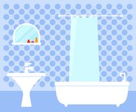 Badezimmerinnenraum auf flachem Design Stockfoto