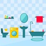 Badezimmerinnenraum in der flachen Artillustration Lizenzfreies Stockfoto