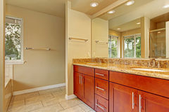 Badezimmerkabinett mit zwei Wannen und Granit übersteigen Lizenzfreie Stockfotos